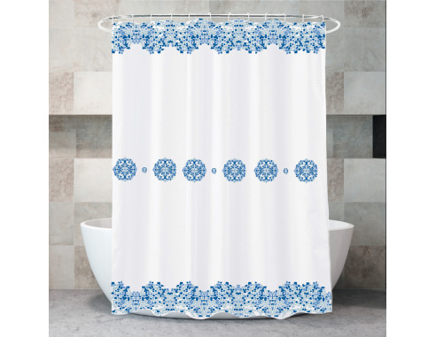 Cortina De Baño Estampada Bizancio Blue